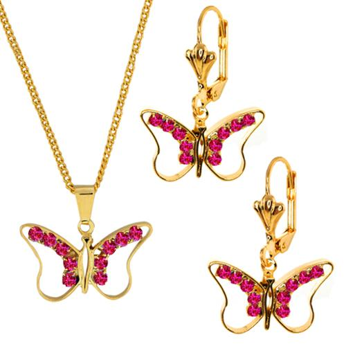 Stunning Pink Crystal Gold Butterfly Pendant and Earring Set with Chain