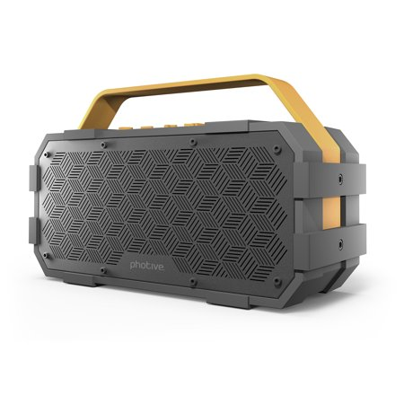 Photive M90 XLarge Portable Wireless Bluetooth Speaker with Built-In Subwoofer. Waterproof Shockproof 20-Watts EXTREME Audio Power. Water Resistant Outdoor Stereo Speaker