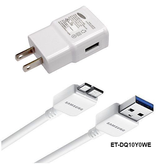 Original Samsung Charger - EP-TA10JWE Adaptive Fast Charging Adapter with ET-DQ10Y0WE 21-Pin USB 3.0 Charging Data Cable - 100% OEM Brand NEW in Non-Retail Packaging