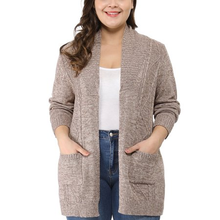 Women's Plus Size Shawl Collar Open Front Sweater Cardigan Brown Extra Fine Dress Suit