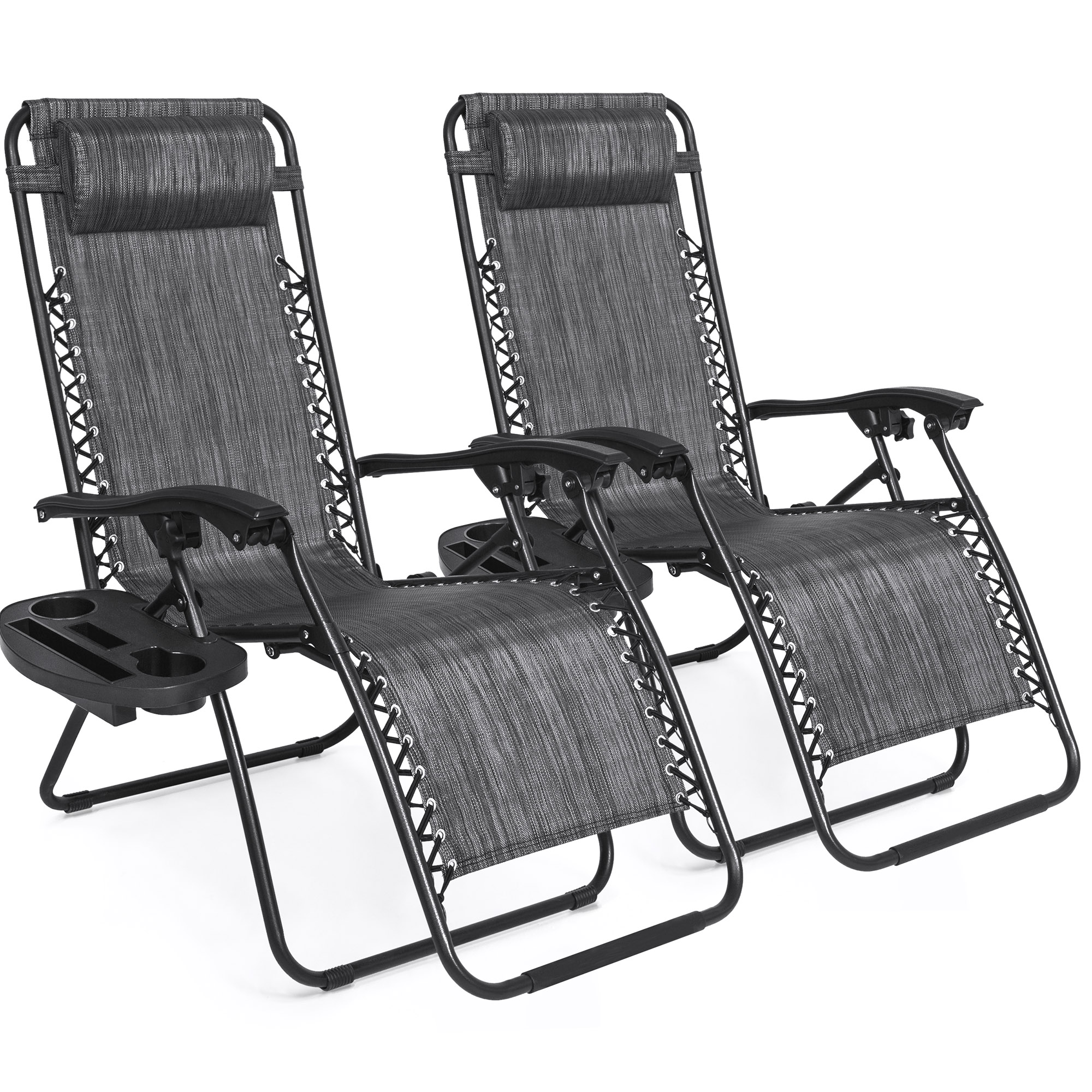 Cool Best Choice Products Set Of 2 Adjustable Zero Gravity Lounge Chair Recliners For Patio Pool W Cup Holders Gray Walmart Com Short Links Chair Design For Home Short Linksinfo