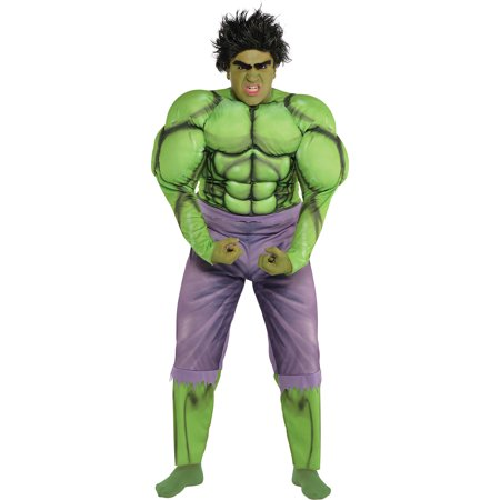 Hulk Muscle Costume for Adults, Plus Size, Includes a Jumpsuit, a Wig, and More](Hulk Hogan Wig)
