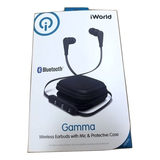 3059b7a4e8b iWorld Gamma Bluetooth Wireless Earbuds w Microphone Black - Walmart.com