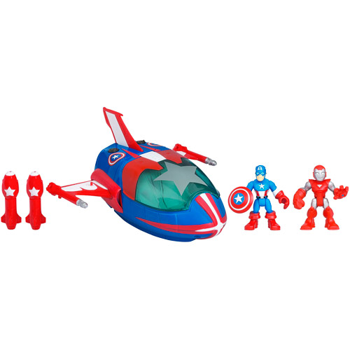 Marvel Super Hero Adventures Playskool Heroes Quinjet with Captain America and Iron Man Set