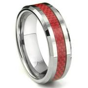 Titanium Kay Tungsten Carbide Red Carbon Fiber Comfort Fit Mens Wedding Band Ring Sz 10.0
