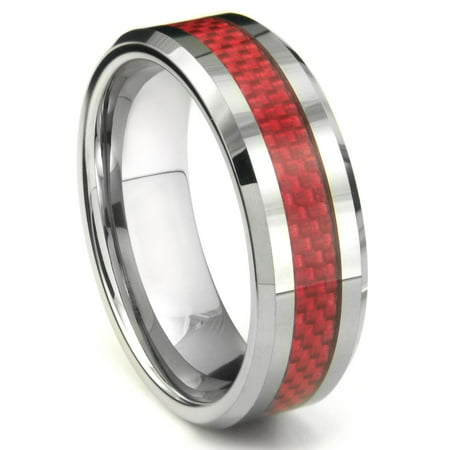 Anium Kay Tungsten Carbide Red Carbon Fiber Wedding Band Ring Sz 9 5