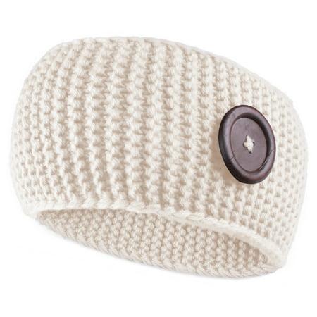 Enimay Women's Warm Fuzzy Fleece Lined Thick Knit Headband Headwrap Hat Cap Beige One Size