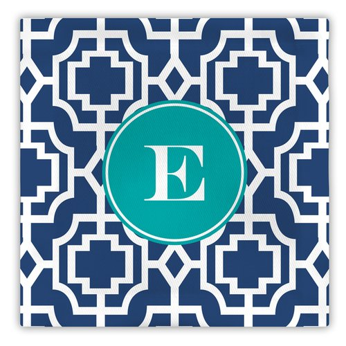 Whitney English Designer Lattice Single Initial Fabric Coaster (Set of 4)