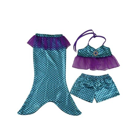 Wenchoice Little Girls Blue Mermaid Tail Top Shorts 3 Pc Swim Set for $<!---->