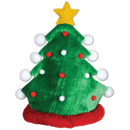 Club Pack of 12 Green and Red Plush Christmas Tree Holiday Hat Costume Accessories - Christmas Tree Costumes