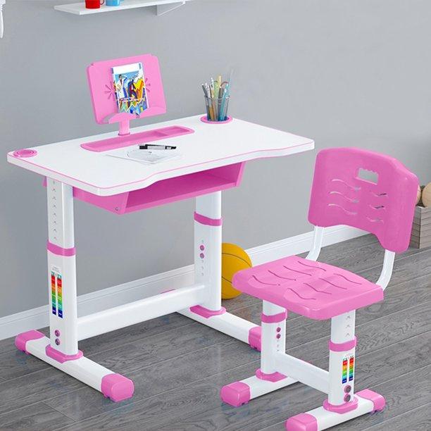 Kids Functional Desk And Chair Set, Pink Metal School Desk