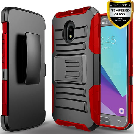 Samsung Galaxy J7 Refine/J7 2018/J7 V 2nd Gen/J7 Aero/J7 Eon/J7 Star/J7 Crown/J7 Aura/J7 Top Phone Case, With [HD Screen Protector] Belt Clip Holster Phone Cover w/ (Phone Faceplate Protector Cover Case)