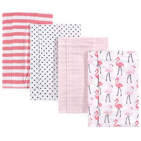 Baby Flamingo - Hudson Baby Boy and Girl Flannel Burp Cloths, Flamingos