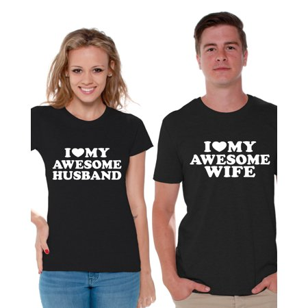 Awkward Styles Couples Matching Wife and Husband Shirts Matching Couple Shirts for Valentine's Day I Love My Awesome Husband Shirt I Love My Awesome Wife T Shirt for Couples Cute Anniversary Gifts