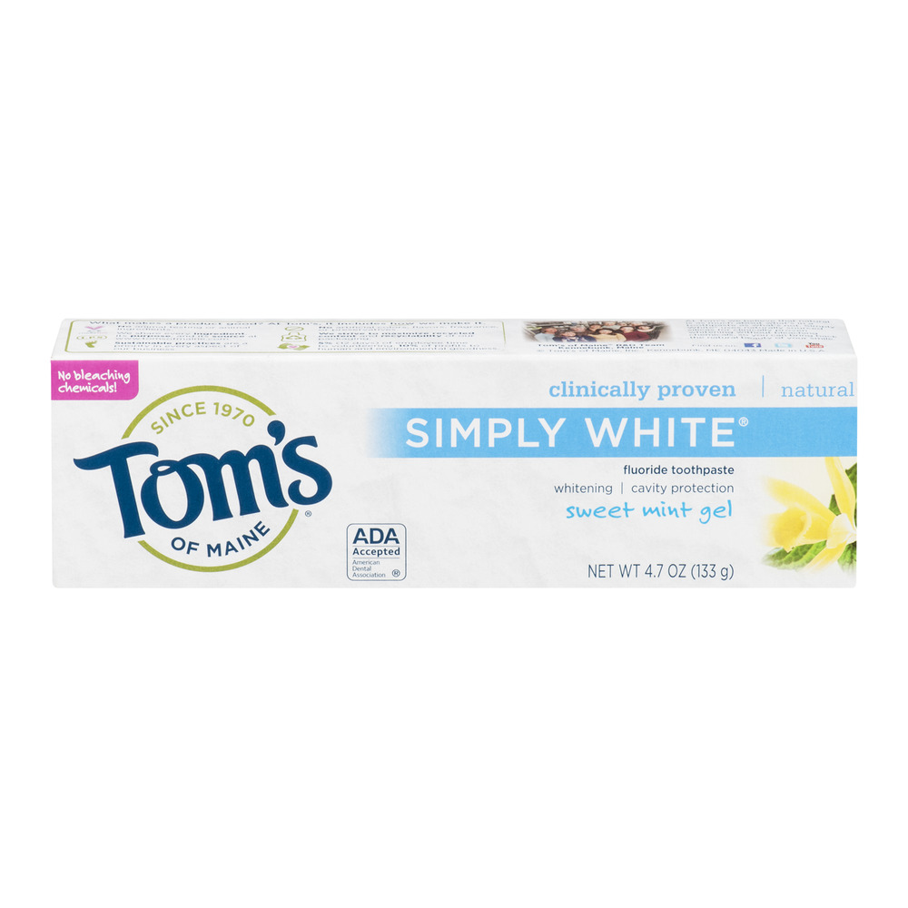 Tom's of Maine Fluoride Toothpaste Natural Simply White Sweet Mint Gel, 4.7 OZ