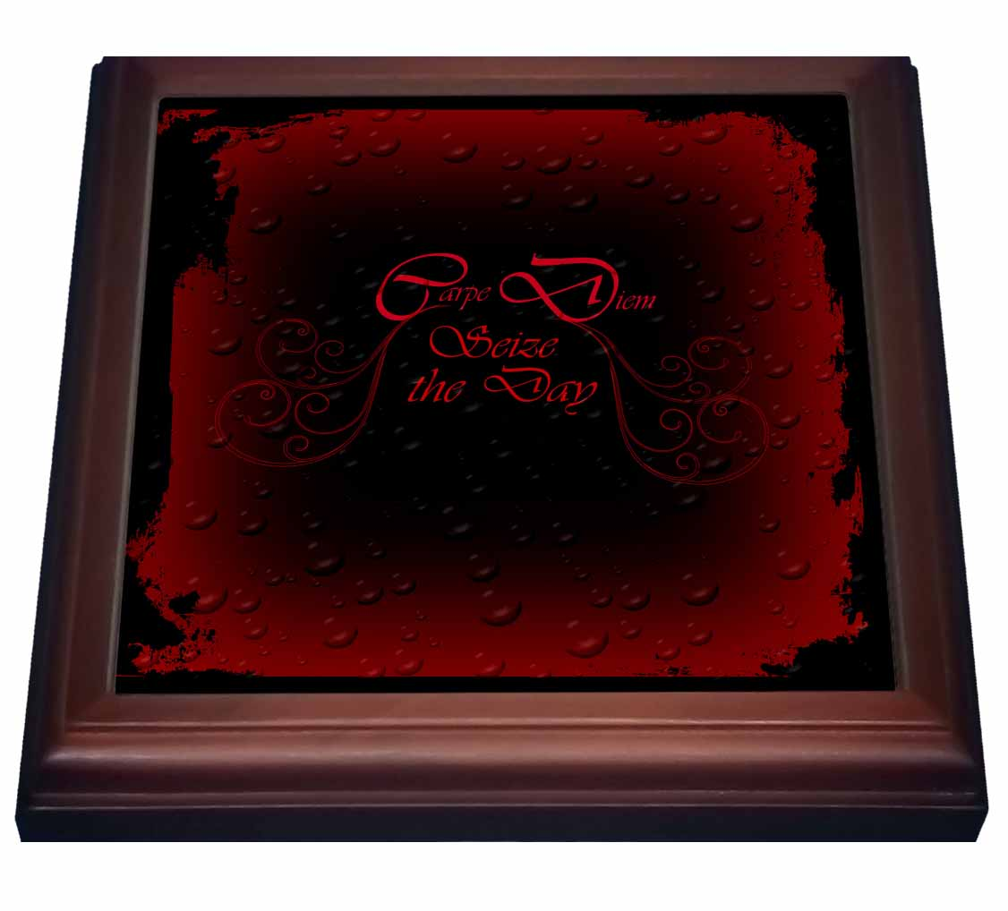 3dRose A Goth design with Carpe Diem written in fancy letter in Red, Trivet with Ceramic Tile, 8 by 8-inch by 3dRose