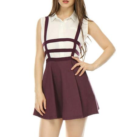 Women's Cut Out A Line Elastic Waist Mini Suspender Skirt S (US 6) Red ()