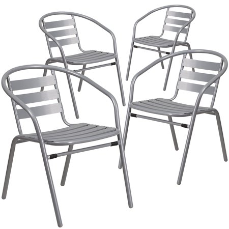 Flash Furniture 4 Pk. Silver Metal Restaurant Stack Chair with Aluminum Slats ()