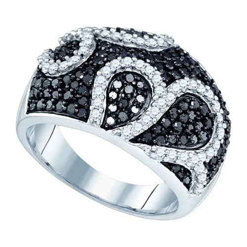 10K White Gold 1.54ctw Glamorous Black Pave Diamond Decor...