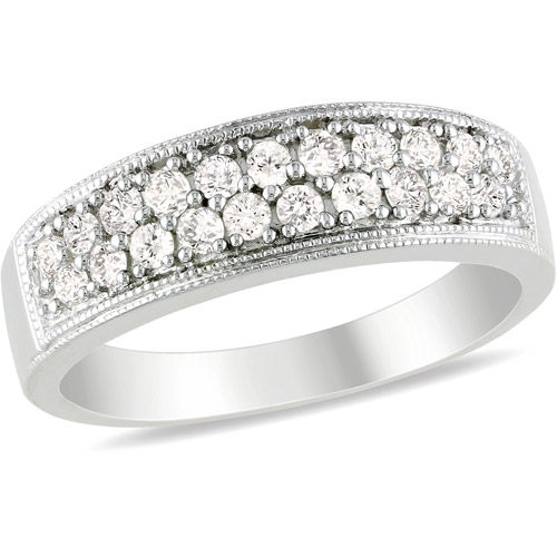 Miabella 1/2 CT TDW Double-Row Diamond Fashion Ring in Sterling Silver