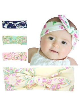 Product Image Lovely Cute Design Floral Printed Bowknot Baby Children Headband Elastic Newborn Baby Girls Headband DIY Hair