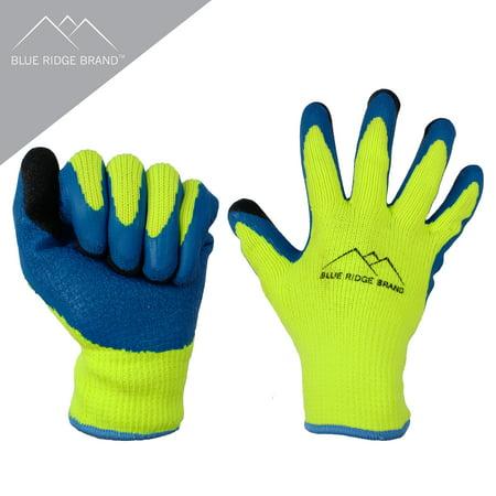 Blue Ridge Brand Winter Latex Work Gloves - 7 Gauge Polyester Cold Weather Glove - High Visibility Rubber Grip Gloves - Men's Work