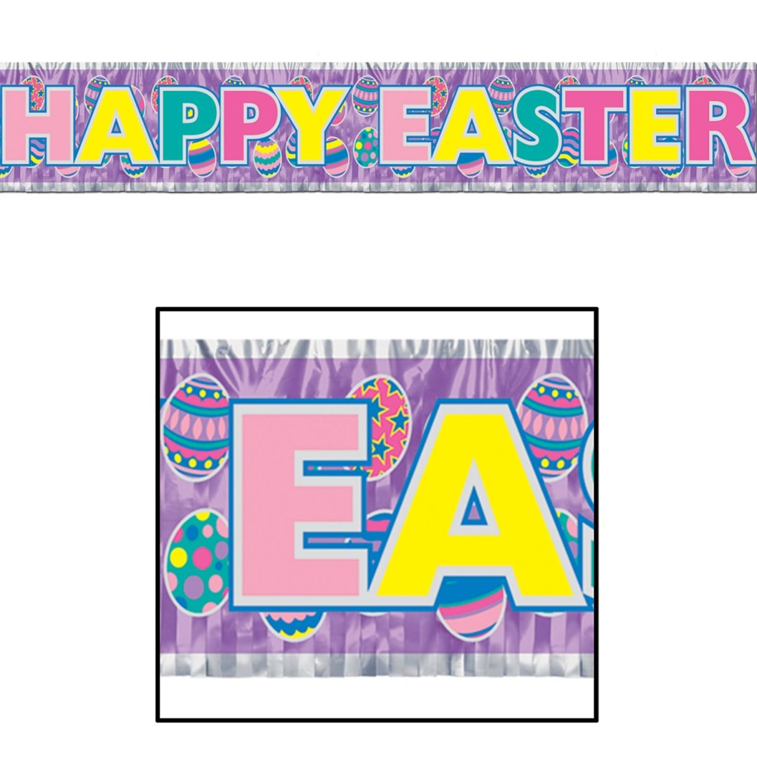 "Club Pack of 12 Metallic ""Happy Easter"" Fringe Banner Hanging... by Party Central"