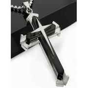 Unisex Men Stainless Steel Cross Pendant Necklace Chain
