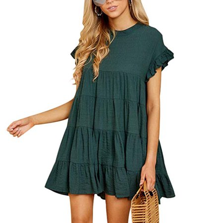 3d0f6b829 iLH - iLH Womens Ruffle Sleeve Casual Plain Short Sleeve Dress Casual Swing  Party Dress - Walmart.com