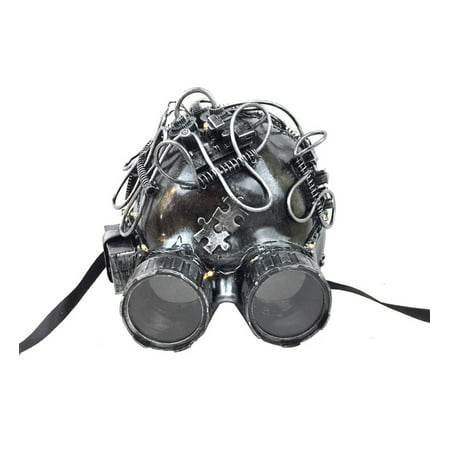 KBW Adult Unisex Steampunk Silver Helmet LED Mask with Goggles, Light Up Vintage Victorian Style Retro Punk Rustic Gothic Motorcycle Pilot Aviator Eyewear Headgear Costume Accessories Novelty