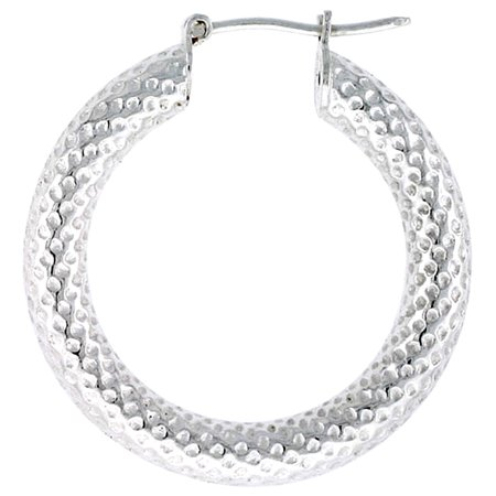 Sterling Silver Hoop Earrings Textured Thick 1 8 Inch