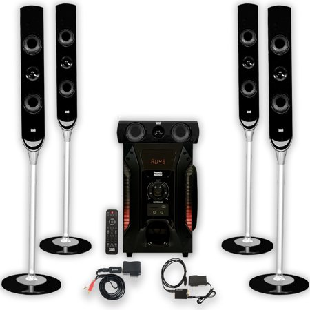 Acoustic Audio AAT1000 Tower 5.1 Home Speaker System with Bluetooth and Optical Input
