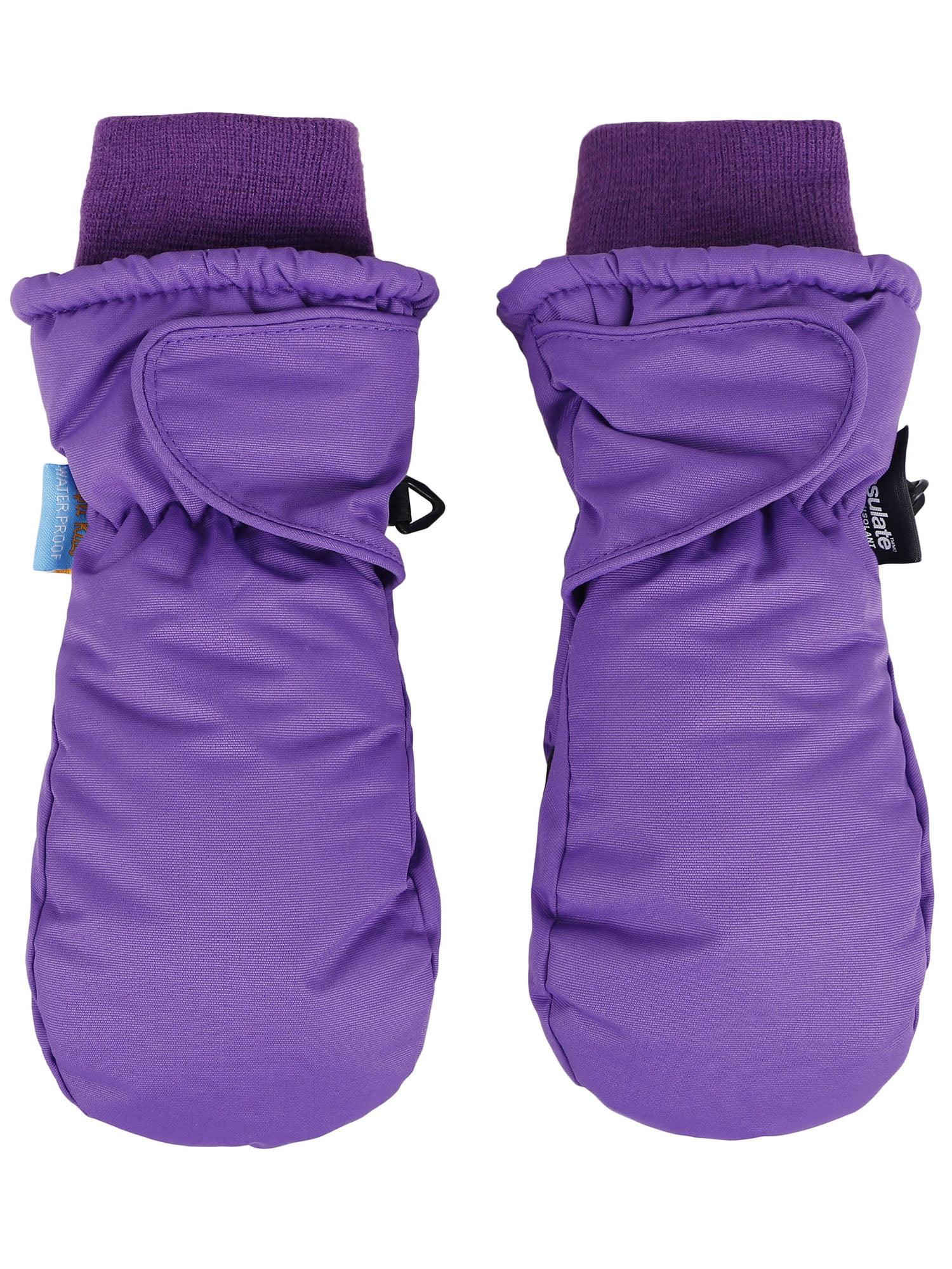 SimpliKids Childrens Snow Sports Insulation Waterproof Winter Ski Mittens,XS,Purple