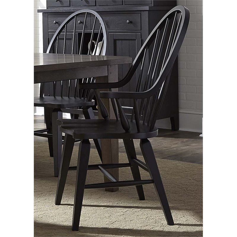 Liberty Furniture Hearthstone Windsor Back Dining Armchair in Black by Liberty Furniture