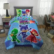 PJ Masks Kids Microfiber Bed-in-a-Bag Bedding Bundle Set, 4-Piece, Blue