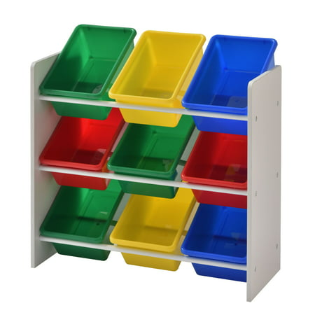 Muscle Rack Kids Storage Organizer with 9 Multi color Bins