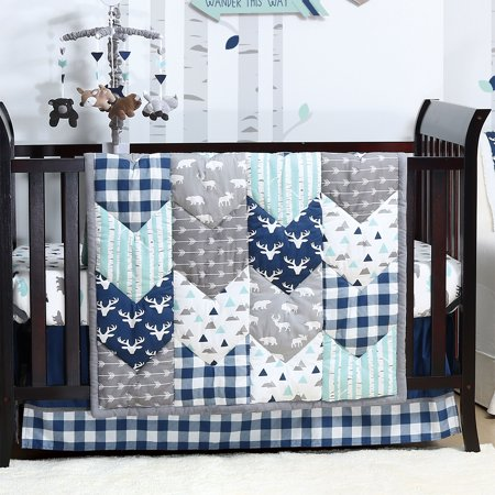 Pastel Baby Quilt (Woodland Trail 3 Piece Baby Boy Crib Bedding Set Patchwork Forest Animal Theme by The Peanut Shell )