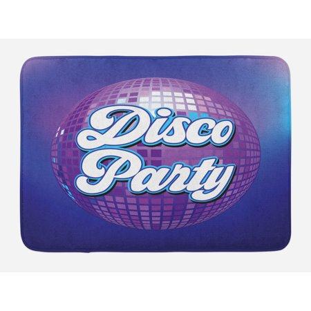 70s Party Bath Mat, Retro Lettering on Disco Ball Night Club Theme Dance and Music Art Print, Non-Slip Plush Mat Bathroom Kitchen Laundry Room Decor, 29.5 X 17.5 Inches, Purple Blue White, Ambesonne - Disco Theme
