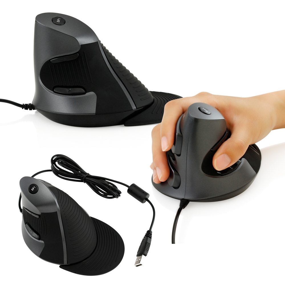 Deluxe Ergonomic Wired Vertical USB Optical Gaming Mouse for Computer PC Laptop Mice- Black
