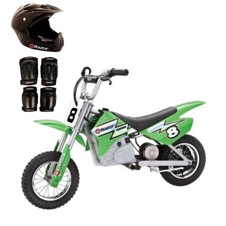 Razor MX400 24V Dirt Rocket Electric Moto Bike with Helmet, Elbow & Knee