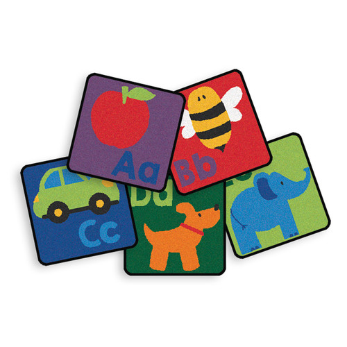 Carpets for Kids Premium Collection 26 Piece Sequential Literacy Seating Square Area Rug Set