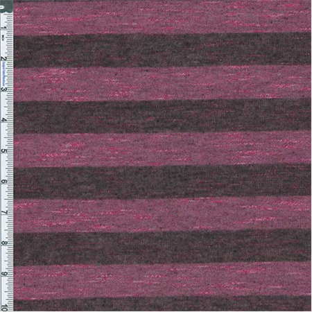 Pink/Black Stripe Slub Japanese Hatchi Knit, Fabric Sold By the Yard