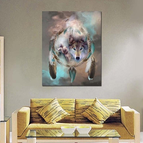 Girl12Queen Wolf Totem 5D Resin Diamond Embroidery Painting DIY Cross Stitch Gift Home Decor