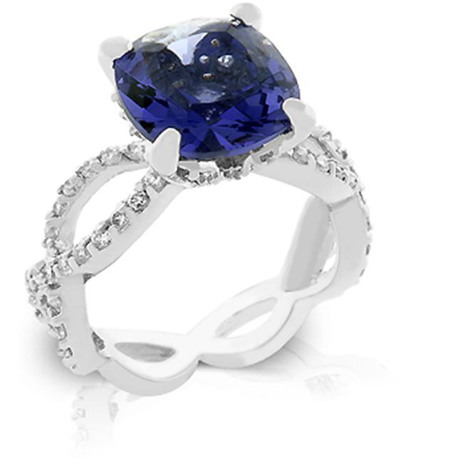 Kate Bissett R08008R-C21-09 White Gold Rhodium with Prong Handset Tanzanite Stone Clear CZs embellish its shoulders