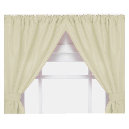 Bone Double Swag Vinyl Bathroom Window Curtains W Tie Backs 36 Lx45