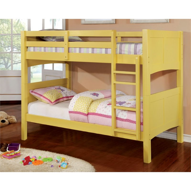 Furniture of America Schwing Twin over Twin Bunk Bed in Yellow