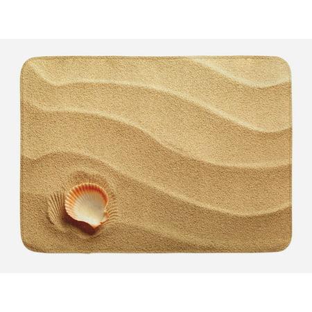 Seashells Bath Mat, Little Seashell on Golden Sand Spiritual Sea Animal Coastal Theme Beach Art Print, Non-Slip Plush Mat Bathroom Kitchen Laundry Room Decor, 29.5 X 17.5 Inches, Sand Brown, Ambesonne