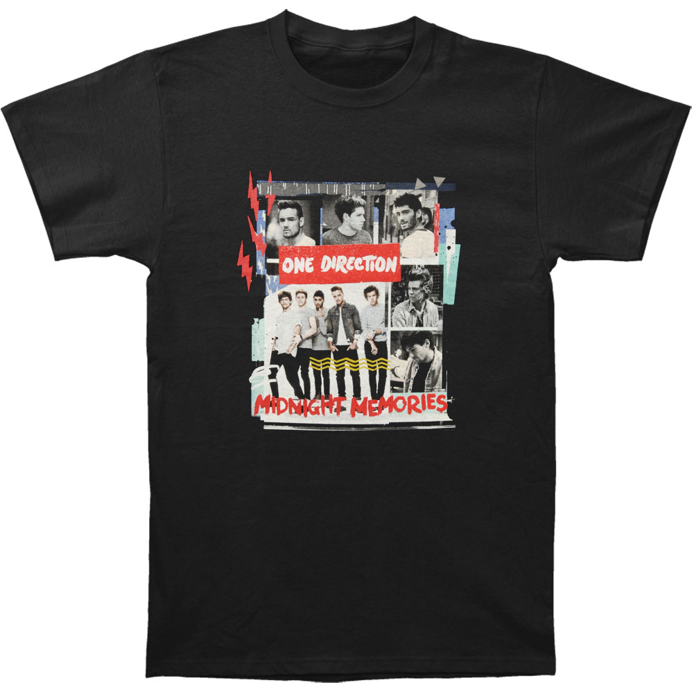 One Direction Men's  Scrap Book T-shirt Black