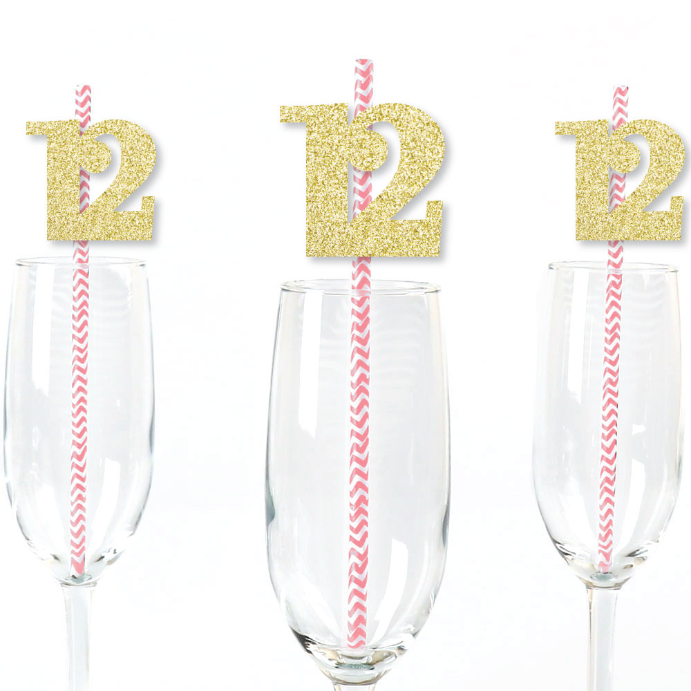 Gold Glitter 12 Party Straws - No-Mess Real Gold Glitter Cut-Out Numbers & Decorative 12th Birthday Paper Straws - 24 Ct