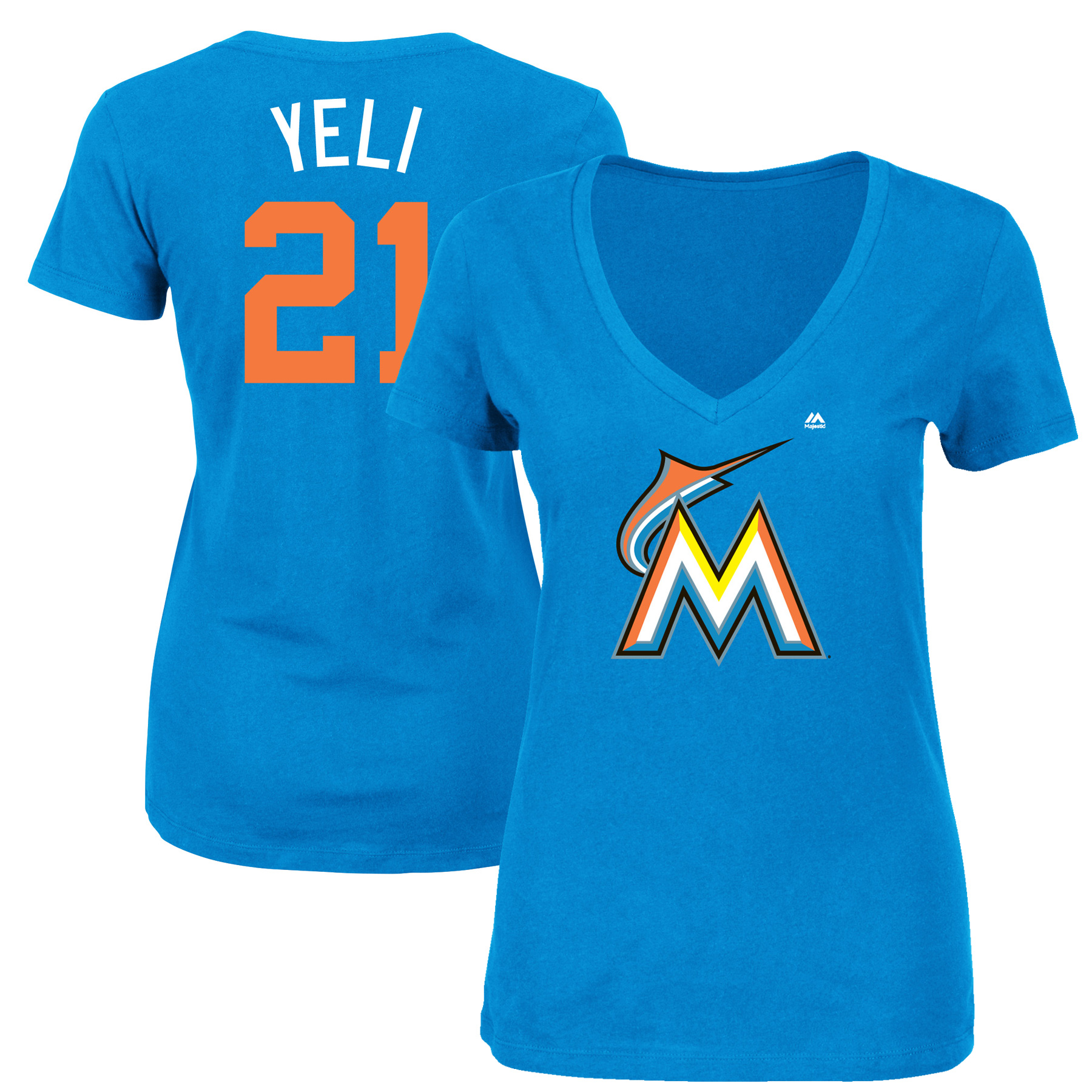 "Christian Yelich ""Yeli"" Miami Marlins Majestic Women's 2017 Players Weekend Name & Number T-Shirt - Blue"